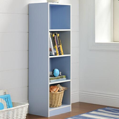 【尚優家居】芙蕾雅四格櫃/書櫃/置物櫃/收納櫃(藍色)