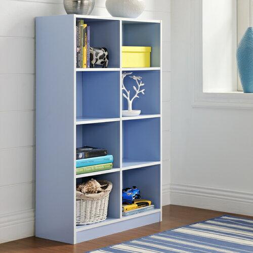 【尚優家居】芙蕾雅八格櫃/書櫃/置物櫃/收納櫃(藍色)