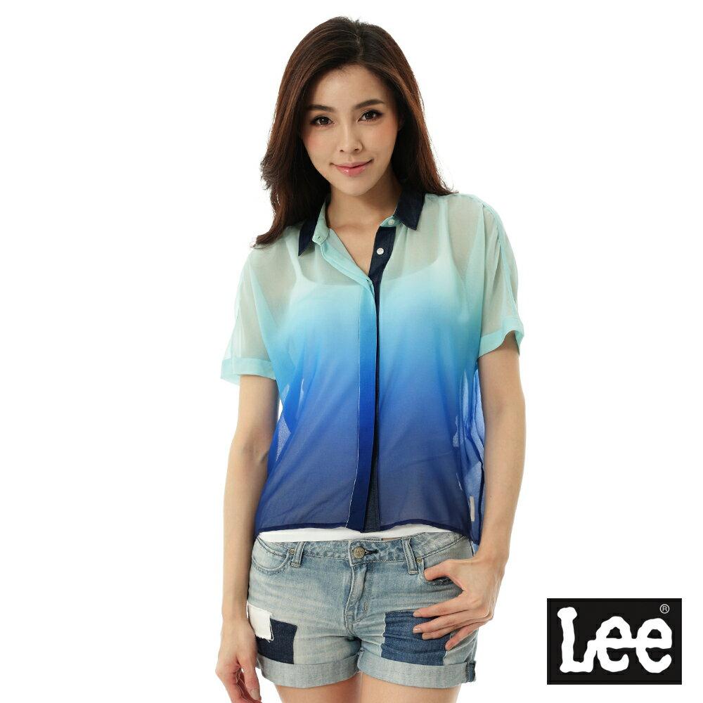 【精選上衣3折】Lee 短袖襯衫(漸層)-女-藍