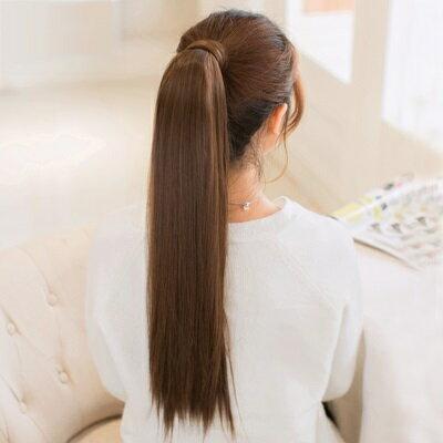 長假髮假馬尾-綁帶式逼真長直髮無痕女假髮4色73rr40【獨家進口】【米蘭精品】
