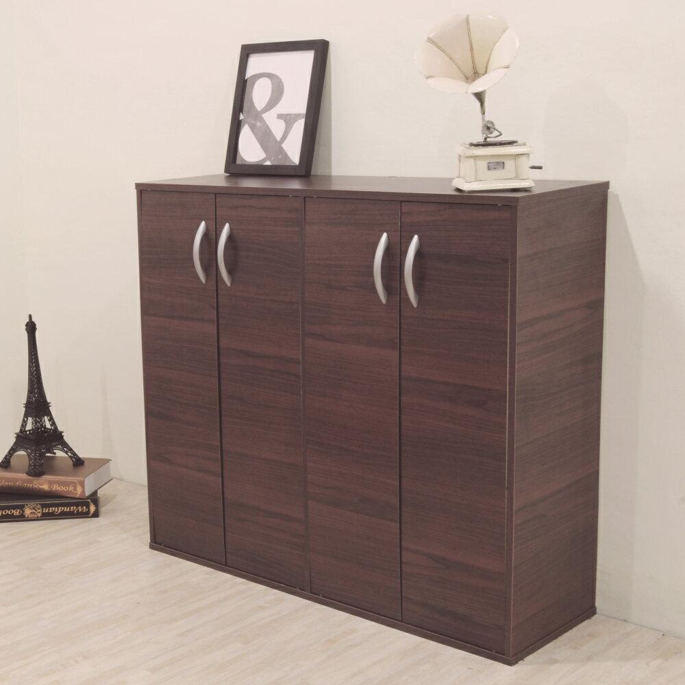 《HOPMA》胡桃木色組合式四門鞋櫃