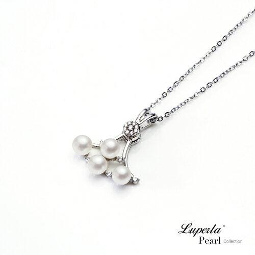 大東山珠寶 純潔浪漫 純銀晶鑽珍珠項鍊 1