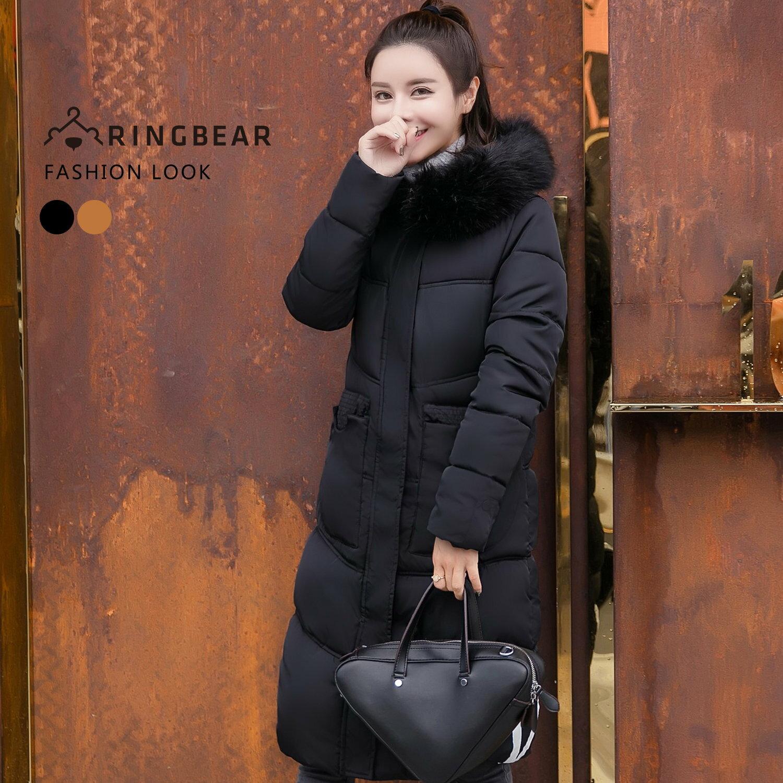 大衣--高雅氣質保暖毛領連帽深口前口袋羽絨棉長版外套(黑.卡其XL-3L)-J326眼圈熊中大尺碼 0