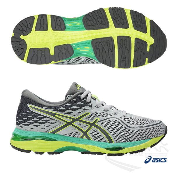 ASICS亞瑟士 女慢跑鞋 (灰綠) GEL-NIMBUS 19 包覆性.高緩衝慢跑鞋款 T7B8N-9697【 胖媛的店 】