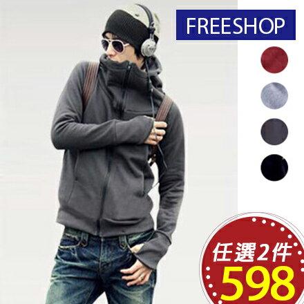 《Free Shop》Free Shop 情侶可穿 日韓版街頭潮流露指加絨設計百搭基本款素面素色保暖刷毛連帽外套【QPPUK8084】