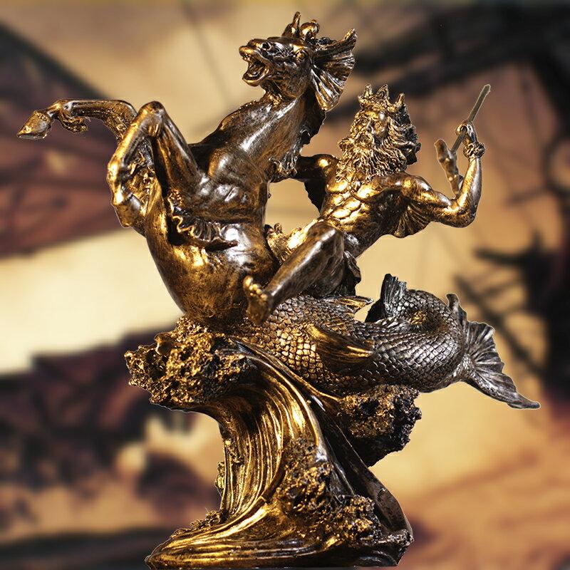 復古希臘神話勇士工藝品人物雕塑海神波塞冬家居飾品辦公室擺件
