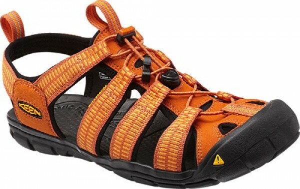 《台南悠活運動家》 KEEN 美國 男戶外護指涼鞋 橘 1012862