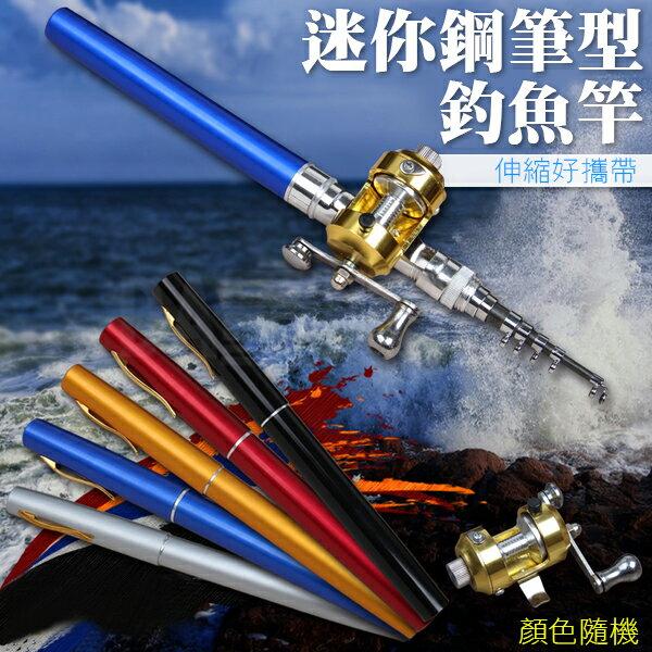 《DA量販店》鋼筆竿 鋼筆型 釣魚 釣竿 釣魚竿 釣具 露營 筆 野外 鋼筆 捲線器 竿 袖珍竿(V50-0427)
