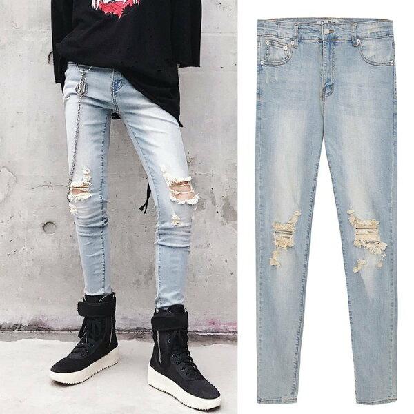 FINDSENSEG6韓國時尚男士牛仔褲破洞重工小腳褲彈力淺藍色窄管褲