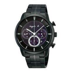 agnes b V175-0CE0T(BU8008P1)紫黑時尚太陽能計時腕錶/紫面40mm
