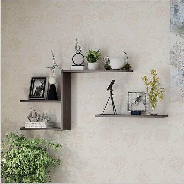 牆上置物架 木層板 層架 DIY收納架 木頭層架 北歐木質收納層架 60X20X2.5cm 三色 一字隔板