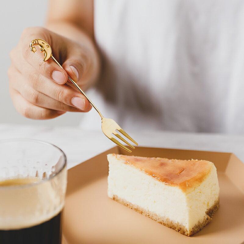 进口不锈钢咖啡勺水果叉甜品店镀金色叉子饮品调酒咖啡搅拌棒