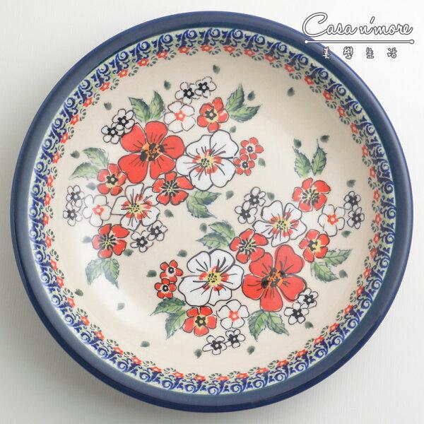 波蘭陶紅白彩卉系列圓形深餐盤陶瓷盤菜盤水果盤圓盤深盤22cm波蘭手工製