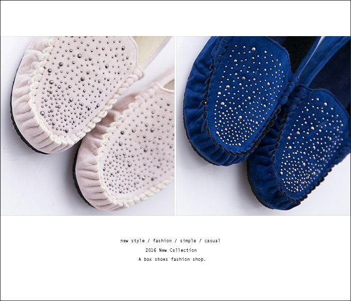 格子舖*【AR380】超值質感絨布金屬綴飾車線設計 舒適軟Q平底包鞋 豆豆鞋 走路鞋 3色 3