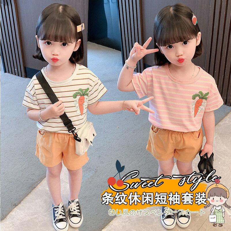 2021年夏季新款女童童裝兒童條紋寶寶衣服卡通可愛夏款短袖T恤裝0
