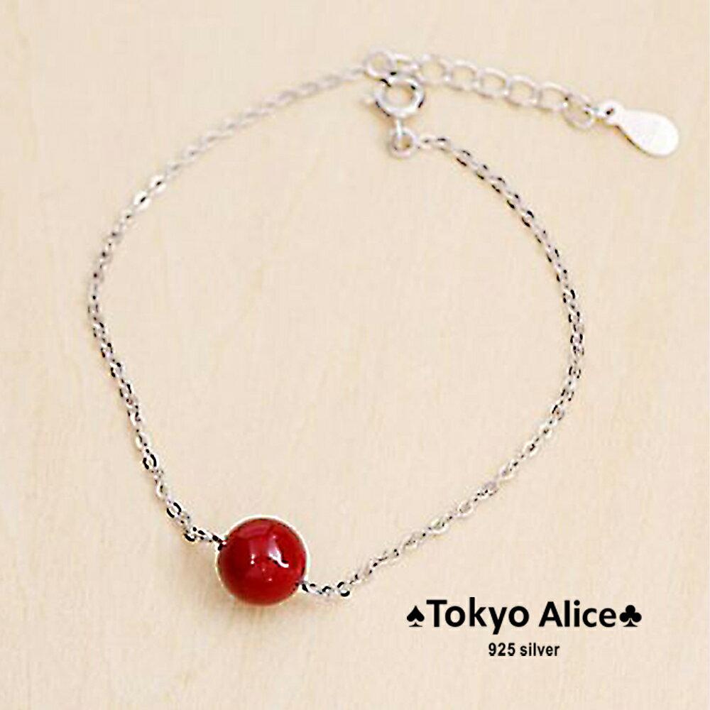 Tokyo Alice 925純銀紅果手鍊,手鏈飾品首飾銀飾甜美^(sh0000015^)
