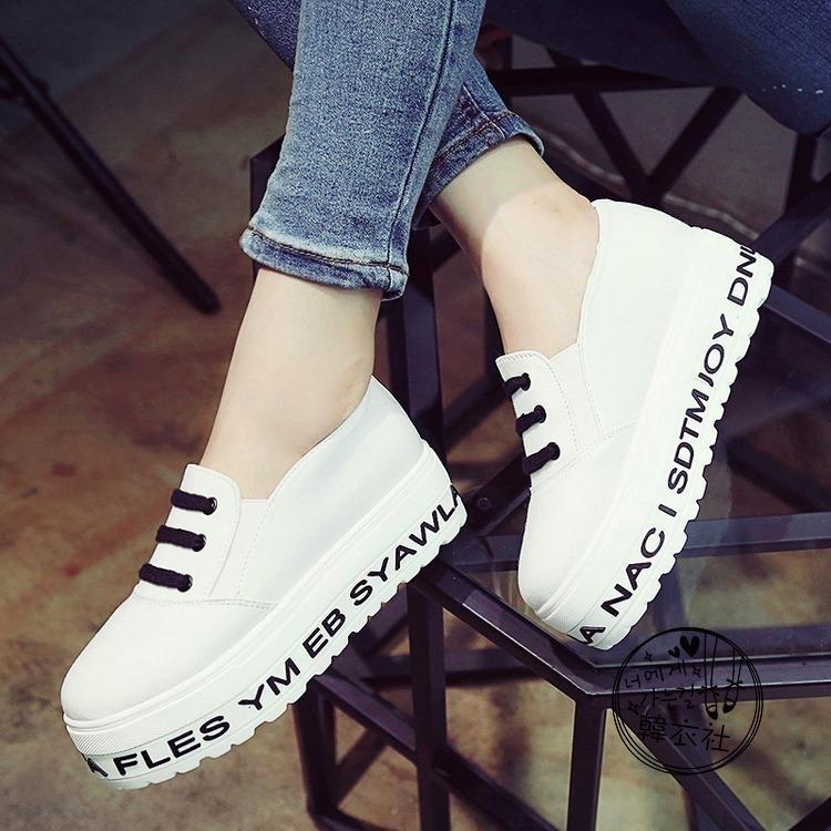 韓版新款春季一腳蹬懶人鞋字母女學生鬆糕厚底中跟帆布女