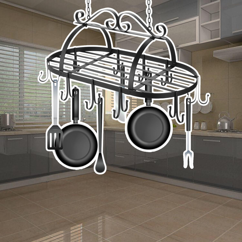 Iron Hanging Pot Holder Kitchen Storage Utility Cookware Hook Rack 4