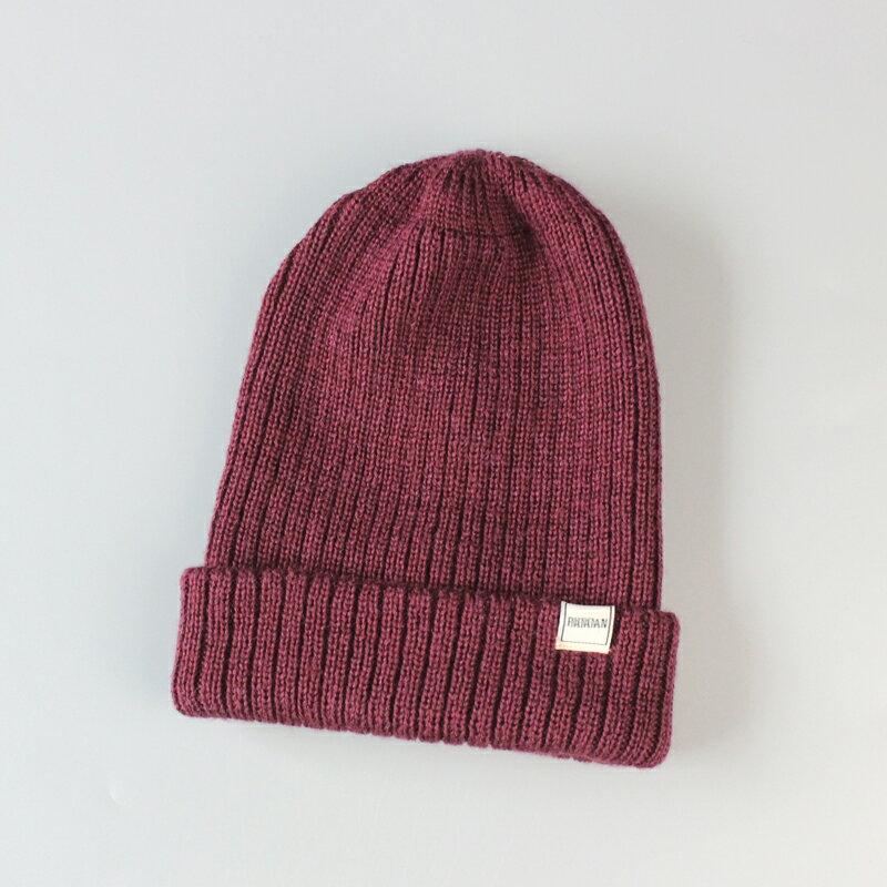 單秋冬時尚羊毛帽男女日系百搭毛線帽雙層加厚逛街保暖冬帽男1入