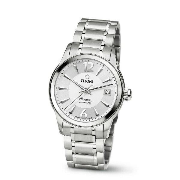 TITONI瑞士梅花錶83933S-323空中霸王紳士機械腕錶/白面38mm