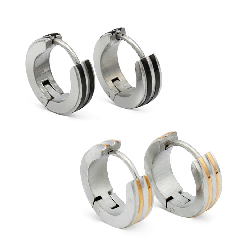 Huggie Hoop Earrings Narrow Black Gold Striped Stainless Steel Fashion Jewelry Ear Hug Hoops Hinge Clasp