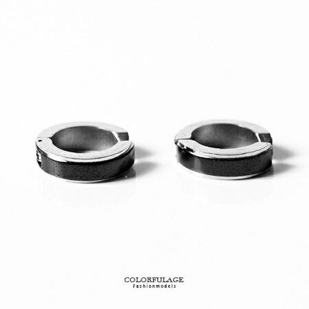夾式耳環 街頭潮流黑銀雙配色 可調鬆緊 有無耳洞可配戴 中性款式 柒彩年代~ND234~簡