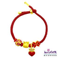 威世登黃金潘朵拉3D硬金串飾手鍊四件組-紅福氣滿袋(約0.27~0.29錢)-GC00290-#DBXX