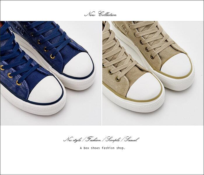 格子舖*【AAF98】個性基本款刷破牛仔布星星 壓印皮標 高筒綁帶3.5CM厚底帆布鞋 2色 2