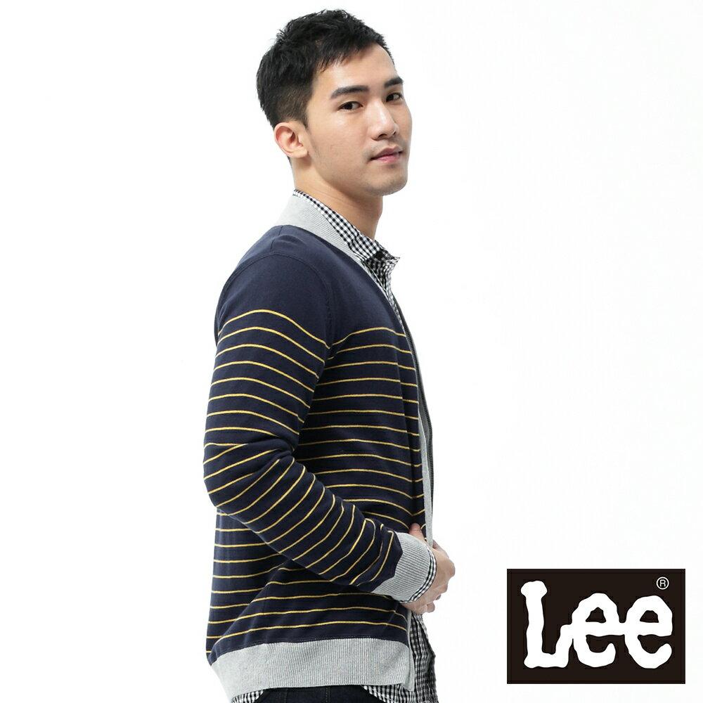 【領券滿1,200再折120】Lee 毛衣外套長袖橫條紋 男款 深藍