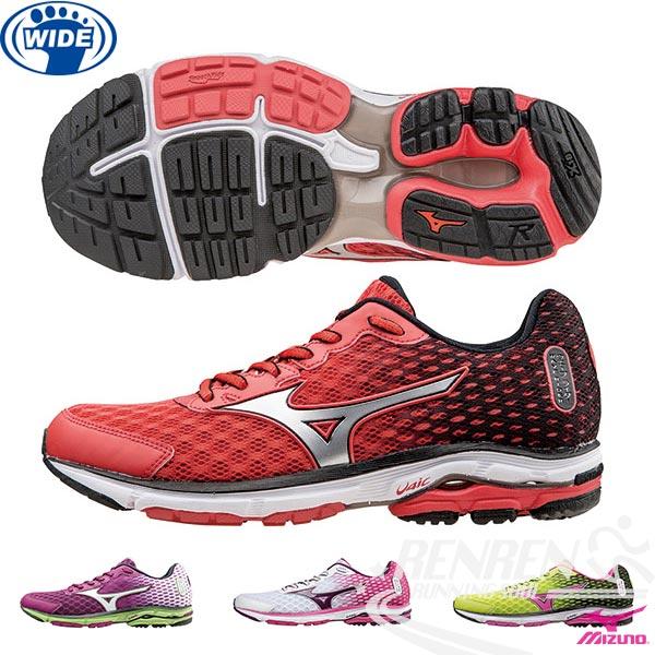 MIZUNO 美津濃  WAVE RIDER 18 女寬楦慢跑鞋 路跑(紅*黑*銀)2015年下半年新款