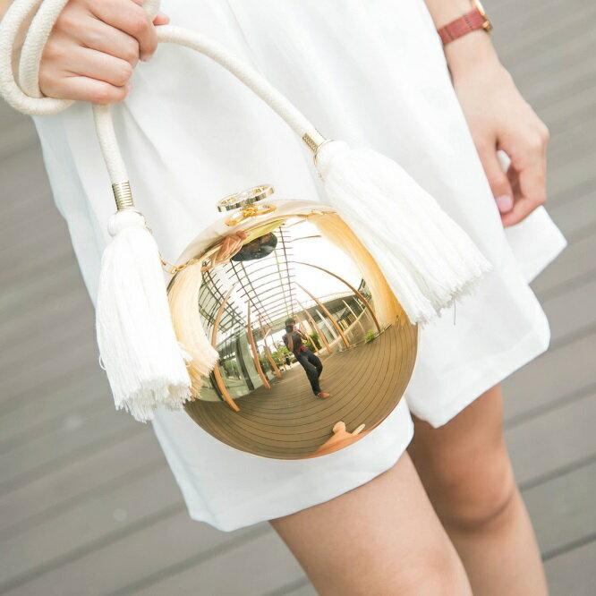 晚宴包圓球鏈條包-時尚麻繩流蘇珍珠球女包包73iy2【獨家進口】【米蘭精品】