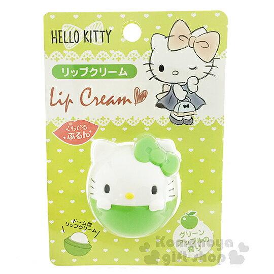 〔小禮堂〕Hello Kitty 造型香味護唇膏《綠.球形.7.5g》青蘋果香味