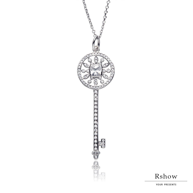 【Rshow】S925純銀 鑲鑽星形萬花筒 鑰匙項鍊 1