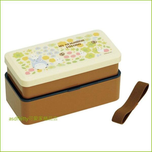 asdfkitty可愛家☆TOTORO龍貓花園雙層直接做飯糰便當盒保鮮盒水果盒收納盒-附束帶-日本製