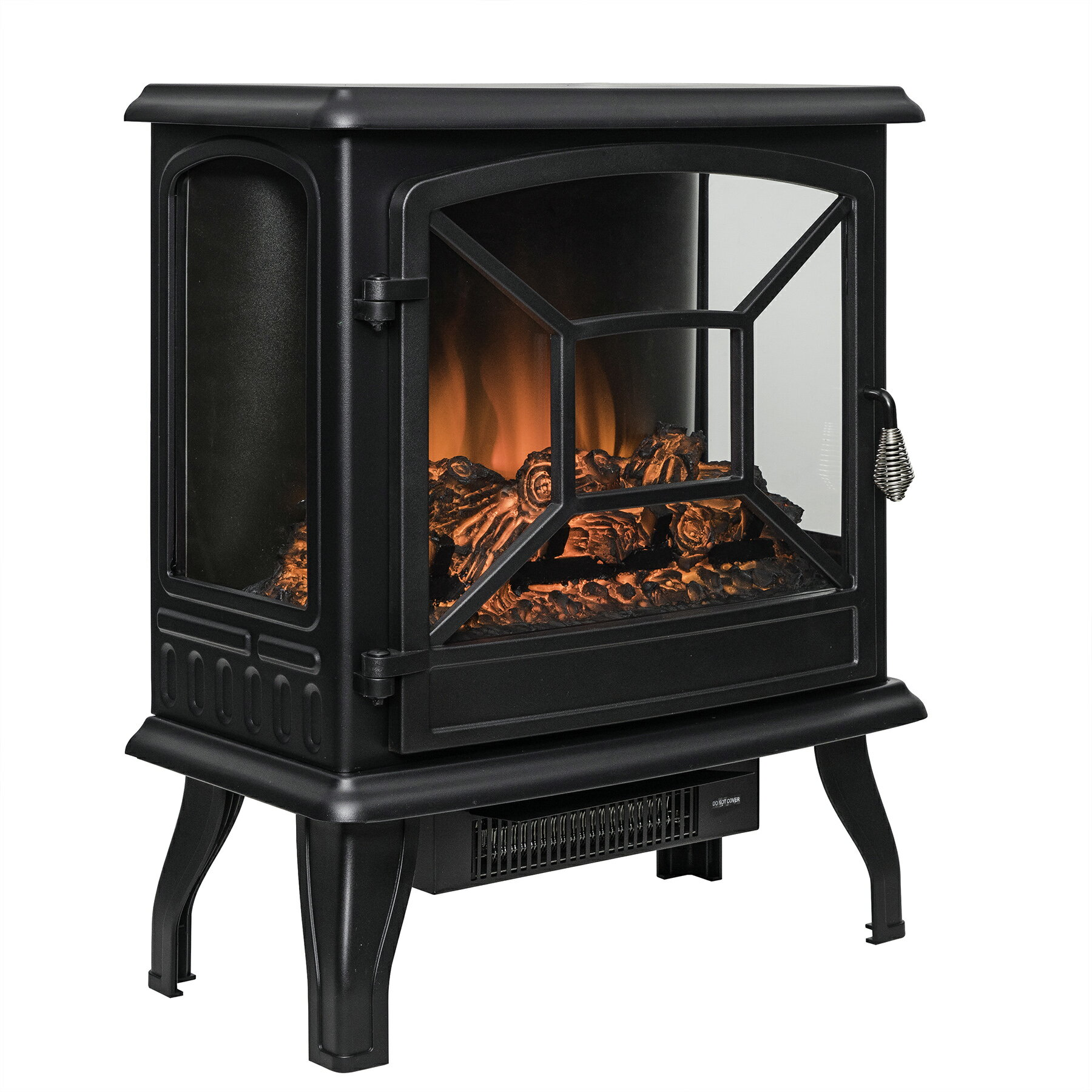 "AKDY 20"" Black Finish Freestanding Electric Fireplace Heater Stove 3"