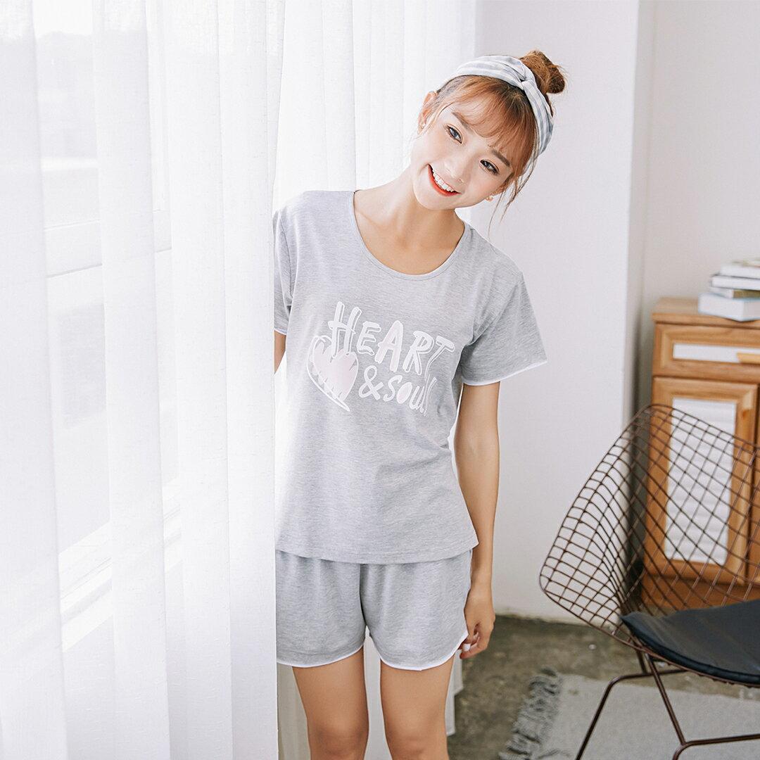 大尺碼熱銷追加款居家服 女生純棉流行睡衣 短袖短褲休閒套裝 可愛舒適家居服 共三色S-XL【漫時光】(87005L) 7