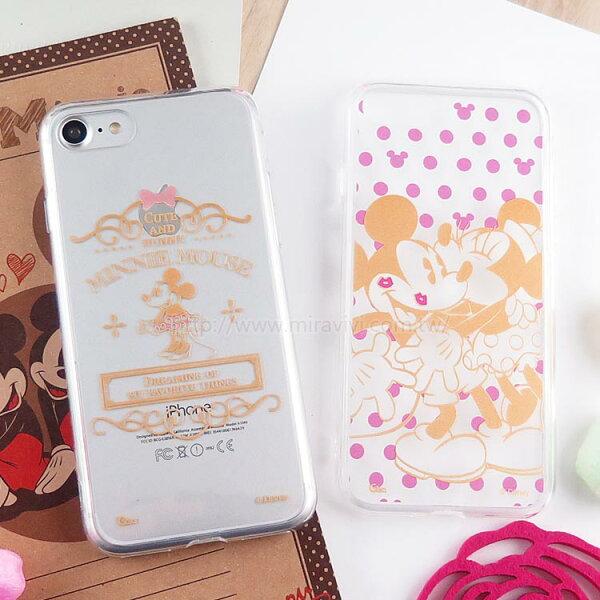 【Disney】迪士尼iPhone7金蒔繪雙料4.7彩繪保護殼-米奇米妮系列