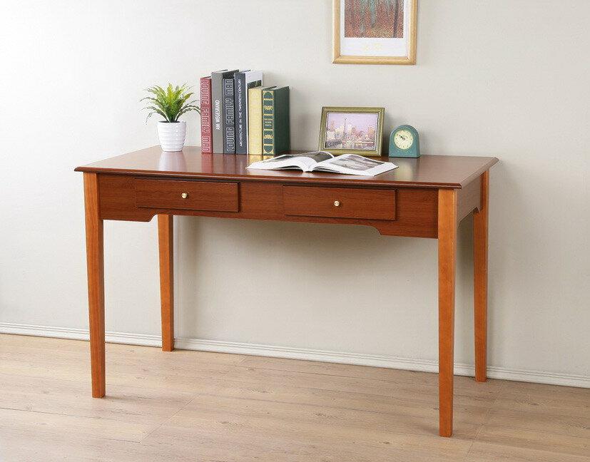 櫻桃雙抽書桌 電腦桌 工作桌 辦公桌【馥葉】【型號DE214TK】可加購玻璃