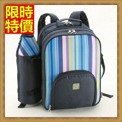 ☆野餐包+2人餐具組雙肩後背包-藍綠雙款雙人實用保溫保鮮露營野餐包+68ag12【獨家進口】【米蘭精品】