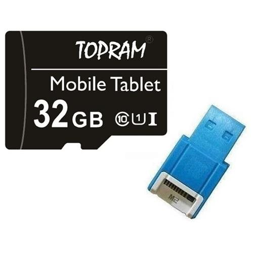 TOPRAM 32GB 32G microSDHC UHS-I U1 Class 10 microSD micro SD SDHC C10 TF Flash Memory Card + SD Adapter and USB 2.0 Card Reader 0