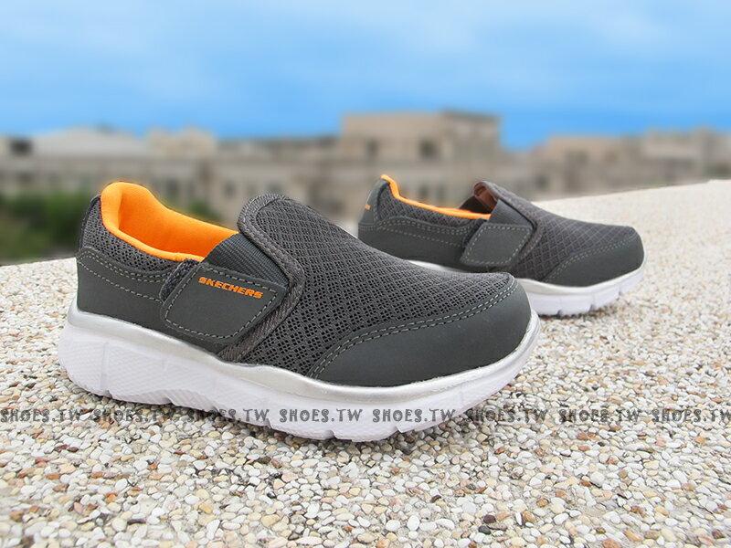 Shoestw【95489NCCOR】SKECHERS 小童鞋 網布 記憶鞋墊 灰橘