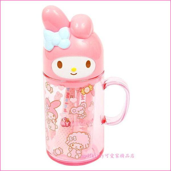 asdfkitty可愛家☆美樂蒂糖果版兒童牙刷牙膏漱口杯隨身組-日本製