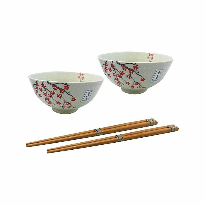 ~︵興雲網購︵~~1025~白雪櫻花2碗2筷 ~ 盒裝 碗4.5吋  飯碗 陶瓷碗 居家