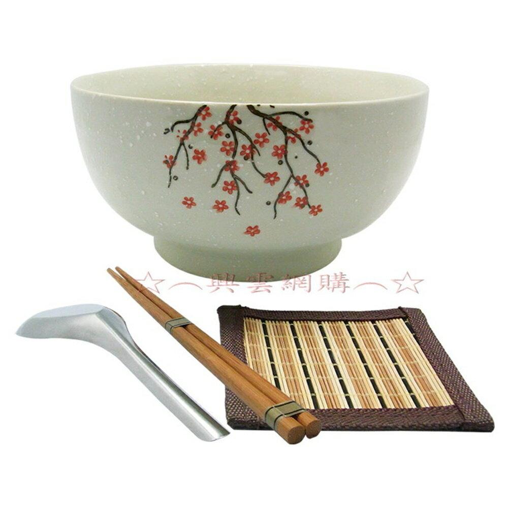 ☆︵興雲網購︵☆【1026】白雪櫻花拉麵碗4件套-盒裝(碗6.75吋) 飯碗 陶瓷碗 居家生活用品 *