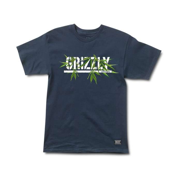 BEETLE GRIZZLY GRIPTAPE SEED STAMP 大麻 灰熊 小熊 深藍 LOGO 短T TEE - 限時優惠好康折扣