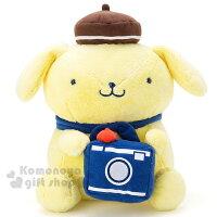 布丁狗周邊商品推薦到〔小禮堂〕布丁狗 絨毛玩偶娃娃《黃.籃領帶.相機》率性自助旅行系列