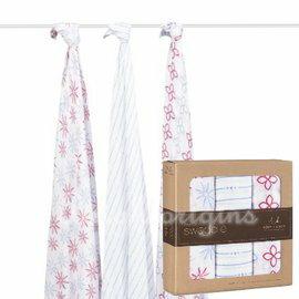 美國 Aden + Anais 竹纖維雙層細紗布輕柔新生兒包巾(3入裝)【紫貝殼】