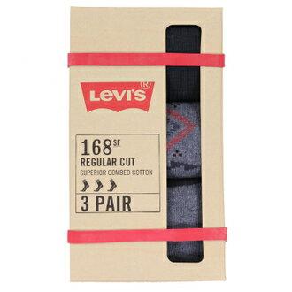 米迪美國時尚小舖:Levis襪子男襪男款中筒襪彈性透氣黑色條紋灰色三件裝