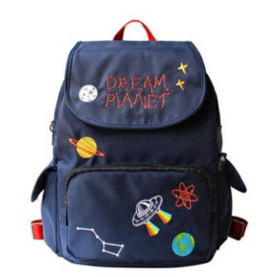 後背包刺繡雙肩包-童趣星球休閒百搭女包包73sr24【獨家進口】【米蘭精品】