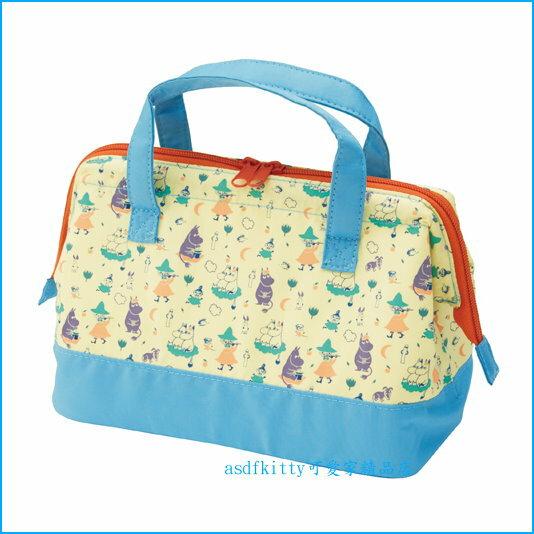 asdfkitty可愛家☆MOOMIN 嚕嚕米寬口拉鍊輕量保溫便當袋/手提袋/購物袋-也可保冷-日本正版商品